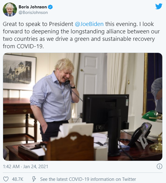 He also shared a photo of the British Prime Minister's first contact with Joe Biden